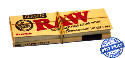 RAW Papers Classic + Tips | 1/4 Rolling Papers Smoking Cigarette Tobacco Roll