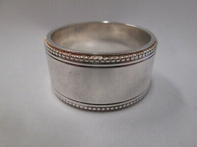 New silver Napkin Ring CHRISTOFLE silverplate beaded rim gold trim ESTATE FIND