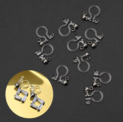 10Pcs Clip on Earring Converter Allergy-Free Resin Non Pierced Earring Invisible
