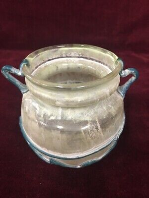 URN Vintage Israel Glass  Roman Byzantine marked IM Holy Land cup 1960s