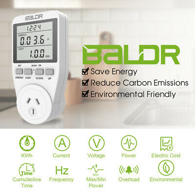 Baldr Dual Tariff Plug-in Digital LCD Energy Monitor Power Meter Monitoring Sock