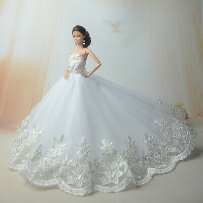 Handmade white wedding dress with delicate lace and veil for 11.5in dolls