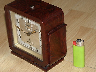 Art Deco old antique CLOCK ALARM vedette VINTAGE BAKELITE DESIGN BAUHAUS