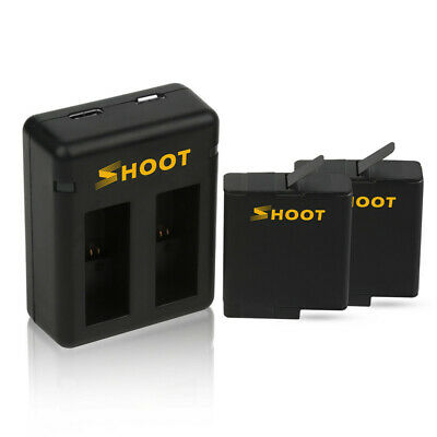 SHOOT Dual Port Battery Charger With 2pcs 1220mAh Battery for GoPro Hero