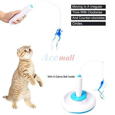 Pet Cat Electric Toy Teaser Interactive Cats Toy Rotating Funny Feather Toys