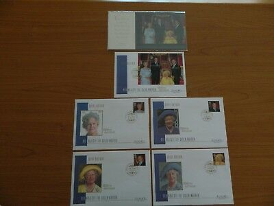 2000 Queen Mother 100Th Birthday Presentation Pack  &  5  Fdc  In Excellent Cond