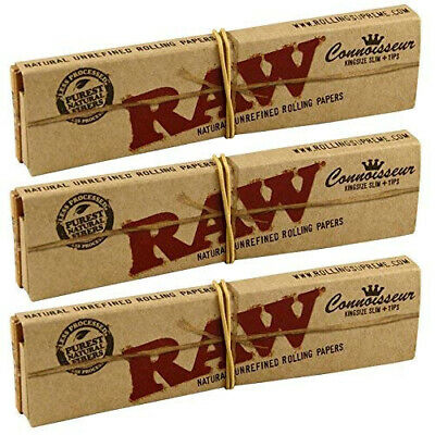 RAW Connoisseur King size Slim Skin Rolling Papers 3x with Roach Tips