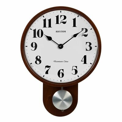Rhythm Round Wooden Pendulum Wall Clock w/ Convex Glass