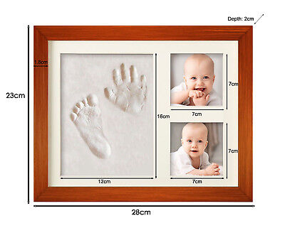 Luxury Baby Foot / Hand Print Clay Cast Kit Wood Photo Frame Ornament Kid Gift