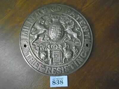 Rare Large Heavy Cast Brass Safe Plaque / Plate 212 - Milners THIEF RESISTING
