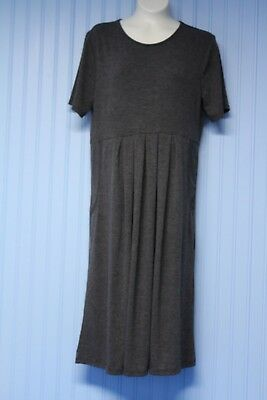 Zenana Premium gray stretch high waist dress with pleats & pockets    Medium