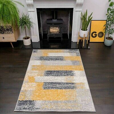 Modern Ochre Yellow Grey Striped Area Rugs Cheap Textured BUDGET Living Room Rug