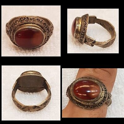 Pure Natural Amazing Agate Stone With Old mix Silver Medieval Old Ring  # 56A