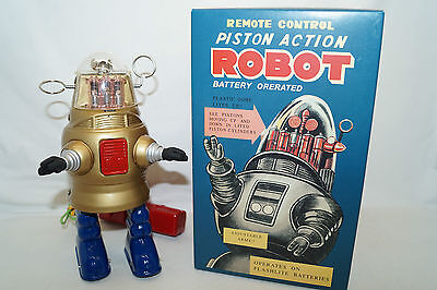 PISTON ACTION ROBOT gold Remote Control Space Roboter China Re-Issue