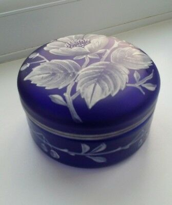 Vintage Bohemian colbalt blue with painted / enamalled decoration.