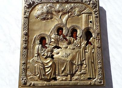 """ANTIQUE RUSSIAN  435 X 380 mm.  ICON """"Old Testament Trinity"""" 18th CENTURY!"""