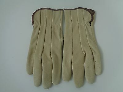 True vintage cream and brown size M genuine leather gloves
