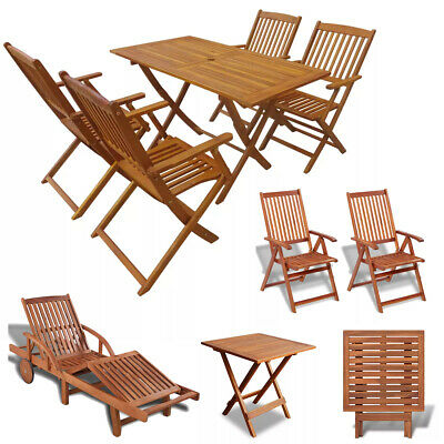 Folding Outdoor Dining Set Acacia Wood Garden Terrace Patio Table Chairs Lounger