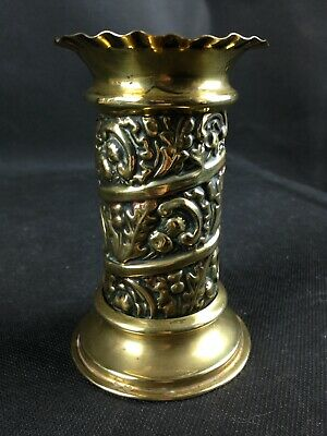 Victorian Arts & Crafts Brass Spill Vase With Thistle Design