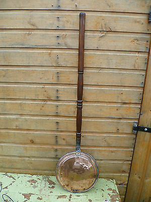 A Large, Victorian / Antique, Stamped Copper Bed Warmer, Antique Bed Warmer