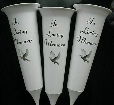 3 x White IN LOVING MEMORY Memorial Grave Flower Vases  Spike Graveside Vase