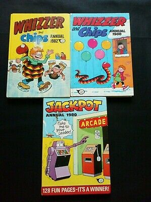 Whizzer And Chips/Jackpot Annual's x 3 1980/1982/1986 Vintage Small Comic Bundle