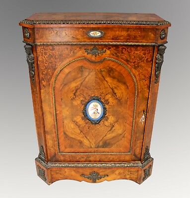 A Lovely Victorian Walnut & Marquetry Inlaid Side Cabinet With Porcelain Plaques
