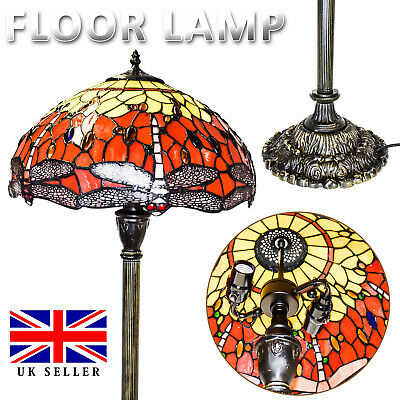 Dragonfly TIFFANY Style Stained Glass Antique Base Floor Lamp with Zinc Base UK