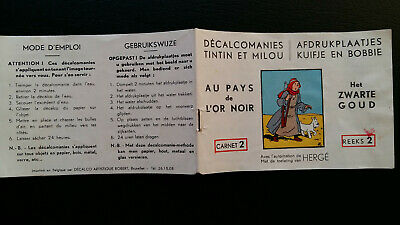 Tintin Kuifje Tim Décalcomanies bilingue n°2 rare série blanche 1954 variante