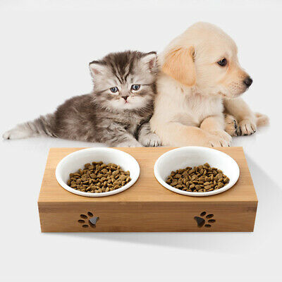 1/2 Bowls Pet Feeder Bowl Dog Cat Bamboo Ceramic Food Water Elevated Stand Dish
