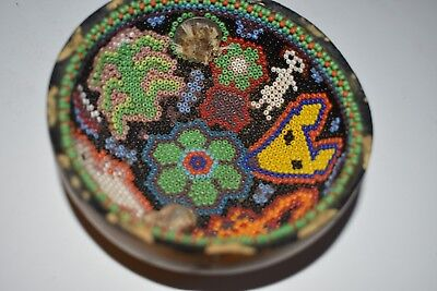 """Orig $399. Pre Columbian Huichol Bowl,Coin Held By Resin 4"""" Prov"""