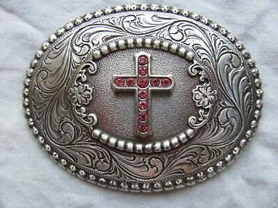 Nocona Western Womens Belt Buckle Oval Pink Rhinestone Cross Silver Toned