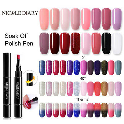 NICOLE DIARY 3 in 1 One step UV Gel Nail Polish Pen Top Base Coat 5ml Nail Art