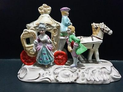 JB Betson's Hand Painted Victorian Horses Drawn Carriage Lady, Driver & Man
