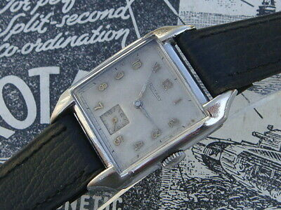 Rotary Art Deco classic 40s WW2 era large mens S.Steel watch collector condition