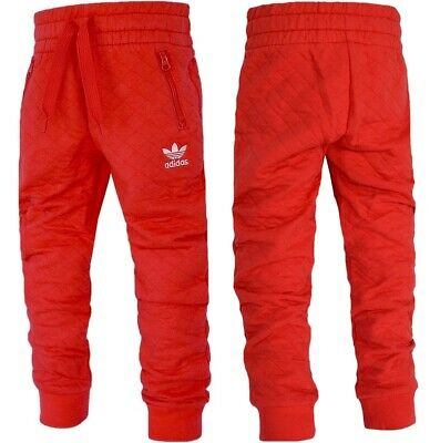Adidas Kinder Trefoil Jogginghose Sweathose Fleece Hose Trainingshose Warm rot