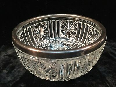 Heavy Clear Glass Serving Bowl w/Silver Plate Rim England