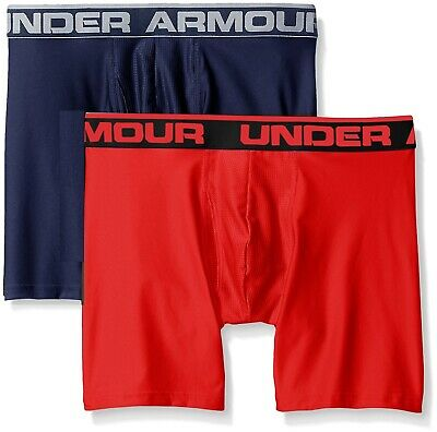 "$68 Under Armour Mens Underwear Red Ua Boxerjock 9"" Boxer Brief 2-Pack Size S"
