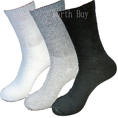 3 6 12 Pairs Mens Diabetic Crew Socks Non-Binding Top Circulatory Health Cotton