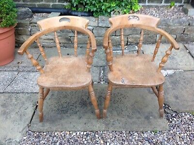Antique Raw Pine Carver Chair x 2 Office Farmhouse Dining Kitchen