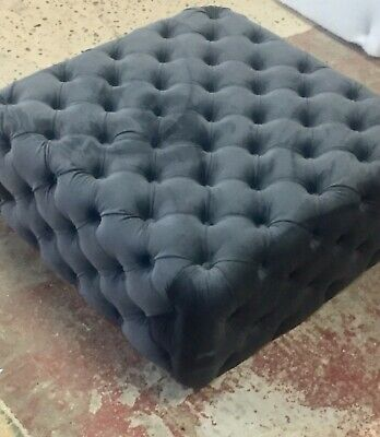 Charcoal Velvet deep Buttoned Footstool/Coffee Table.