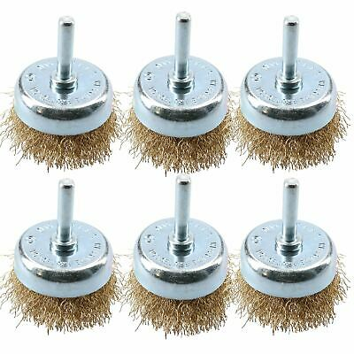 6 Pack 50mm Steel Wire Cup Brush For Drills Brass Coated Rust Paint Remover