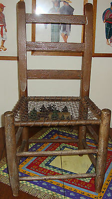 Antique Slat Back Chair Wire Seat Shaker Style