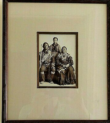 Indian Chief Kack Kack with Wife and Granddaughter Shattonas Photo 1898 Framed