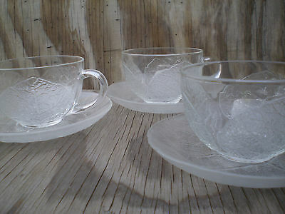 Arcopal France Dishes Aspen Leaf Clear Glass Cups & Saucers 3 Sets