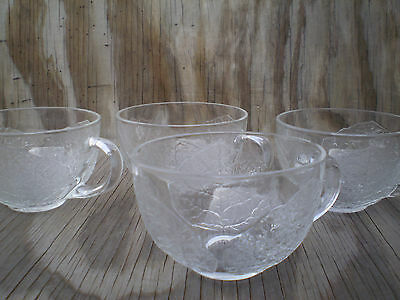 Arcopal France Dishes Aspen Leaf Clear Glass Cups Set Of 4