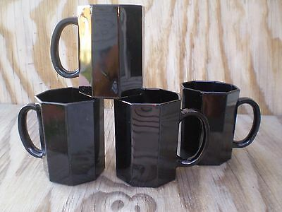 Arcopal France Dishes Novoctime Black Glass Octagon Cups Mugs Set Of 4