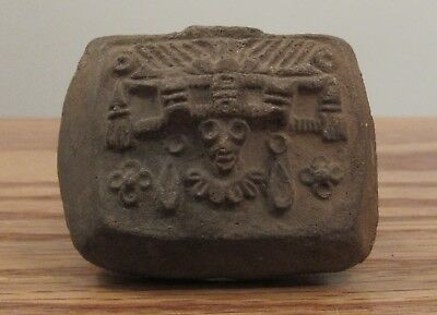 Pre-Columbian? Teotihuacan clay ring pottery stamp headdress figure Tlaloc