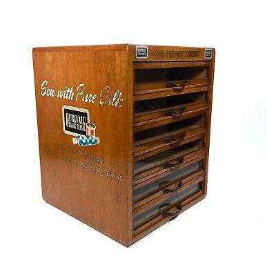 Wooden Perivale Sewing Silks Haberdashery Cabinet / Vintage Wooden Shop Display