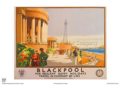 Blackpool Lancashire Vintage Railway Travel Poster Retro Advertising Art